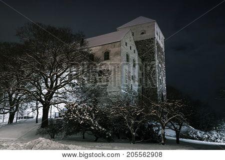 Turku Castle At Dark Night