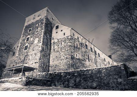 Monochrome Photo Of Turku Castle At Night