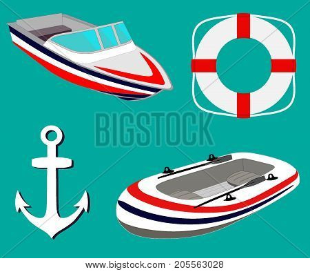 Sea Set With Sailing Boats, Anchor, Lifebuoy. Inflatable Boat And Motor Boat. Vector Illustration.
