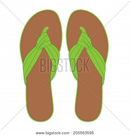 Pair Of Light Green Flip Flops, Summer Time Vacation Attribute, Slippers, Shoes, Vector Illustration