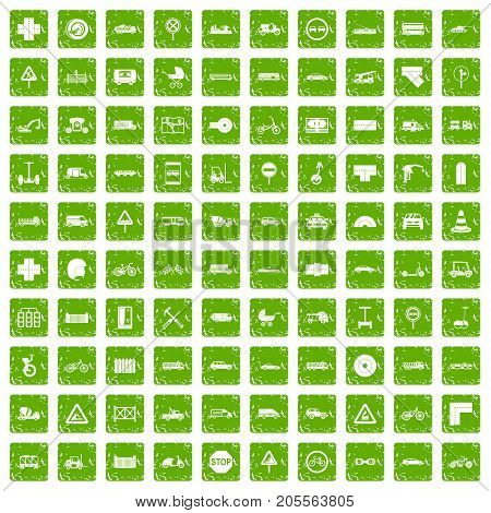 100 road icons set in grunge style green color isolated on white background vector illustration