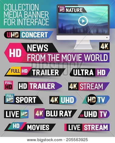 Collection media banner for interface live news breaking news full hd trailer news label ultra HD Sport live stream inscription. Vector Illustration.