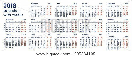 2018 calendar grid with weeks numbers vector illustration isolated on white background. For english quarterly templates design or calendar pages.
