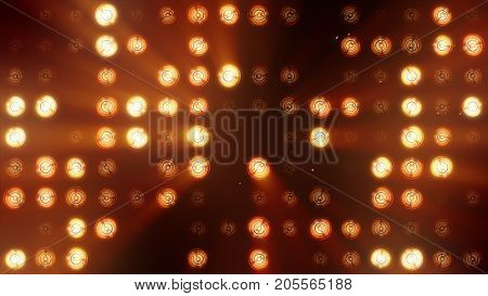 The Wall Of Incandescent Lamps Is Bright Orange. Led Background