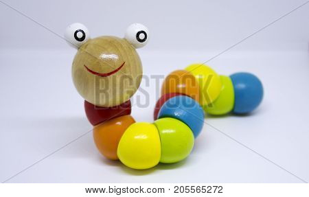 Colorful wooden caterpillar toy for newborn baby