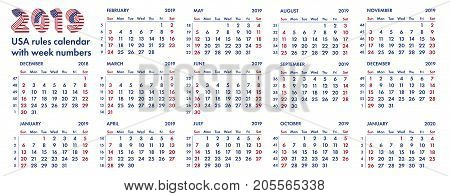 2019 calendar grid american rules with weeks numbers vector illustration isolated on white background. For english quarterly templates design or calendar pages.