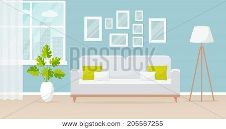 Vector banner with modern interior of the living room. Design of a cozy room with sofa floor lamp window and decor accessories. Vector illustration.