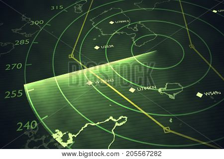 Military Radar Screen Is Scanning Air Traffic. 3D Rendered Illus