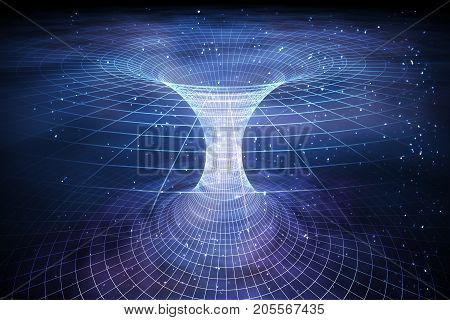 Tunnel Or Wormhole Over Curved Spacetime. Travelling In Space Co