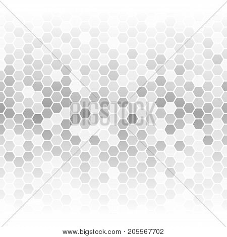Vector illustration of different shade gray hexagon cells background.