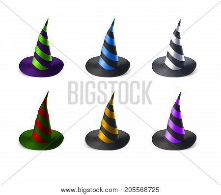 Wizard hats isolated on white background. Halloween vector illustration