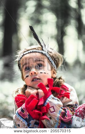Portrait Of Girl In Costume Of American Indian