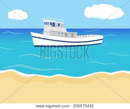The Shore And The Ship On The Water. Seascape With Sea, Sky, Clouds And The Blue-white Ship. Vector