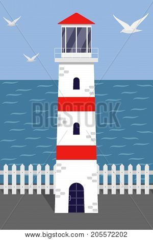 Beautiful White And Red Lighthouse On The Sea Shore, Seagulls, Earth, White Fence. Vector Illustrati