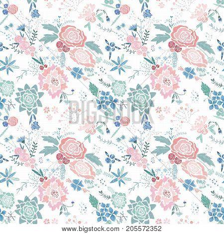 Seamless texture with stitch imitation botanical elements on white background
