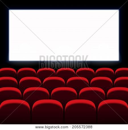 Red vector seats. Movie, cinema design with white screen. Film premiere. Сinema room, hall.