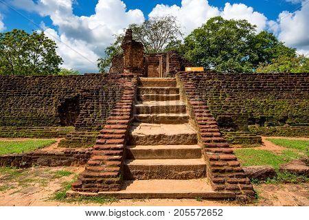Pothgul Viharaya in Polonnaruwa ruins. Unesco world heritage on Sri Lanka.
