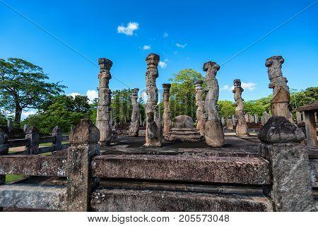 Nissanka Latha Mandapaya in Polonnaruwa ruins. Unesco world heritage on Sri Lanka.