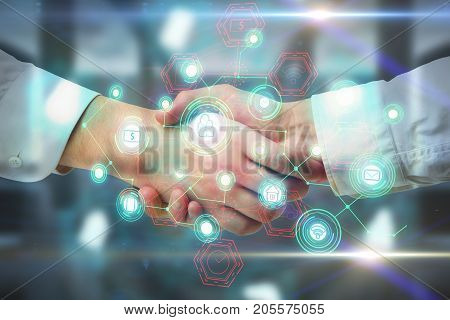 Side view and close up of handshake with abstract digital business network hologram. Teamwork and communication concept. Double exposure