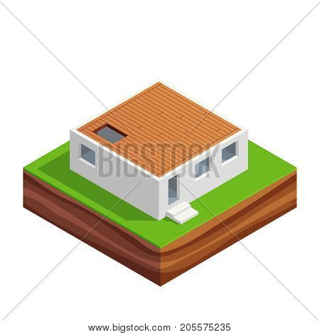 Isometric concept of building a house. 3d the first floor of the house. House construction phases. Vector illustration.