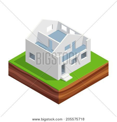 Isometric concept of building a house. 3d the first and second floor of the house with interior walls. House construction phases. Vector illustration.
