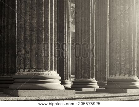 Architecture background. Kazan Cathedral colonnade in Saint Petersburg Russia. Sepia processing. Architecture landscape. Architecture view