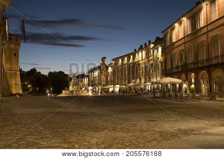 Cesena (Emilia Romagna Italy): the medieval castle in the main square of the city at evening