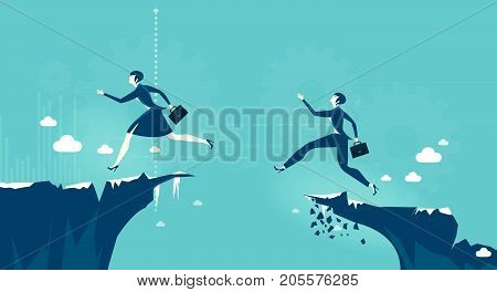Business woman trying to reach other side of canyon. Professional success, opportunity, taking a risk concept illustration.