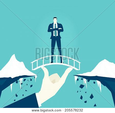 Businessmen staying on the safe bridge over the canyon. Support, teamwork and professional coordination concept illustration. Risk in business