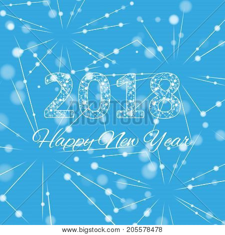 Text design Christmas and Happy new year 2018. Graphic background molecule and communication. Connected lines with dots. Lines plexus. Scientific cybernetic vector illustration. eps 10