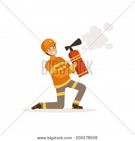 Fireman character in uniform and protective helmet kneeling spraying foam from a fire extinguisher, firefighter at work vector illustration isolated on a white background