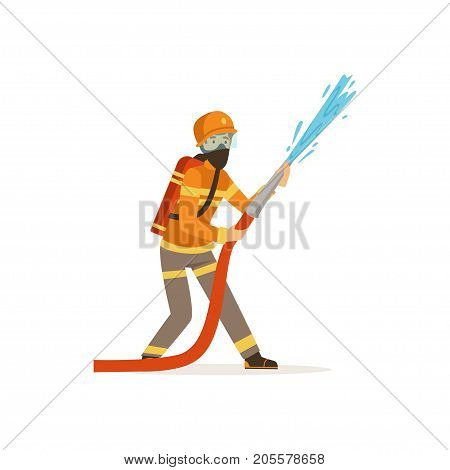 Fireman character in uniform and protective mask holding hose extinguishing fire with water, firefighter at work vector illustration isolated on a white background