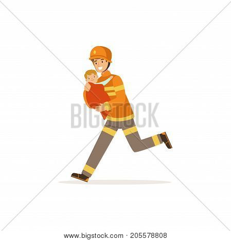 Fireman character in uniform and protective helmet rescuing a child, firefighter at work vector illustration isolated on a white background