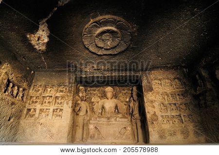 Buddhist temples bored in rocks in the Ellora town in India Maharashtra India (Unesco)
