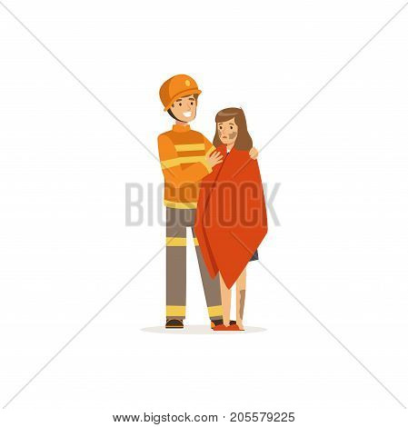 Fireman character in uniform and protective helmet rescuing a man from fire, firefighter at work vector illustration isolated on a white background