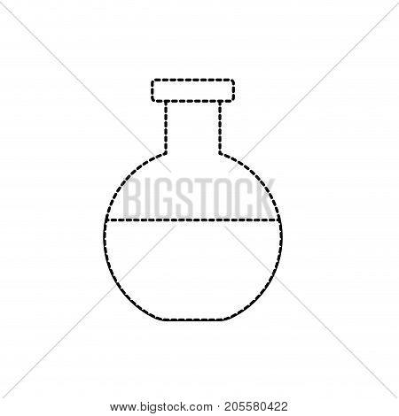 dotted shape erlenmeyer flask to lab chemical design vector illustration