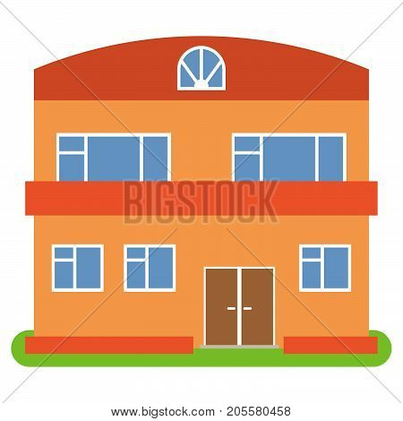 Private house with a orange roof and walls on a white background. Vector illustration.