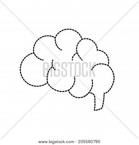 dotted shape side brain human anatomy organ of inteligence vector illustration