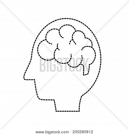 dotted shape side man with anatomy brain vector illustration