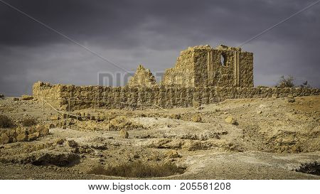 Masada Israel - December 03 2016: Small Palace in Herod the Great palace Masaada located in Judean Desert in Israel