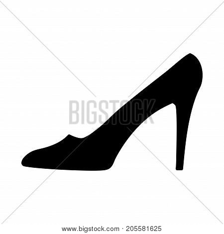 Women shoe sign. Image of elegant silhouette. Beautiful black icon isolated on white background. Sexy symbol. Logo for fashion.Stock vector illustration