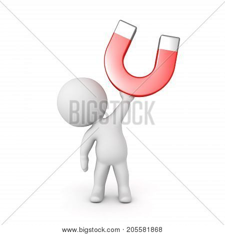 3D Character holding up a big horseshoe magnet. Isolated on white.