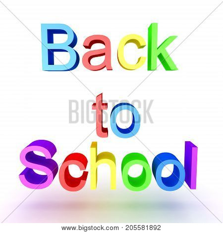 Colorful 3D Text Saying Back To School