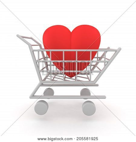 3D Illustration of a heart inside a shopping cart. Image depicting the concept of love being for sale or trying to buy love.