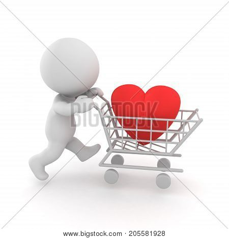 3D illustration the concept of trying to buy love. There is a heart in a shopping cart.