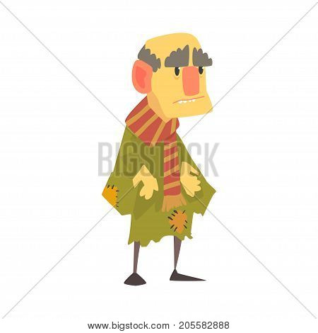Mature unhappy homeless man character in ragged clothes, unemployment person needing help vector illustration isolated on a white background