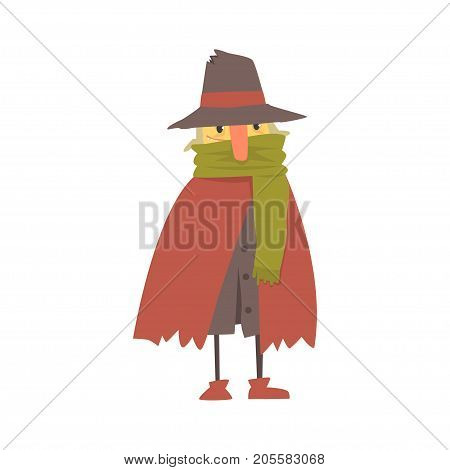 Mature homeless man character in ragged clothes, unemployment person needing help vector illustration isolated on a white background