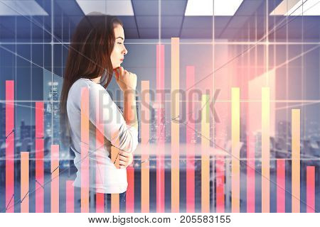 Side view of thoughtful young woman in abstract office room with forex chart and night city view. Currency exchange concept. Double exposure