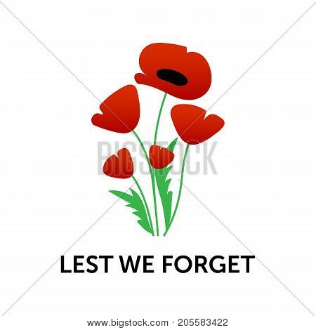 Vector illustration of a bright poppy flower. Remembrance day symbol. Lest we forget.