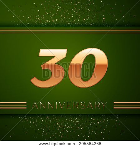 Realistic Thirty Years Anniversary Celebration Logotype. Golden numbers and golden confetti on green background. Colorful Vector template elements for your birthday party